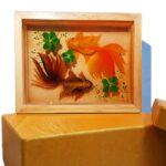 Tranh Hai Cá Ba Đuôi 3D Hộp Gỗ Để Bàn